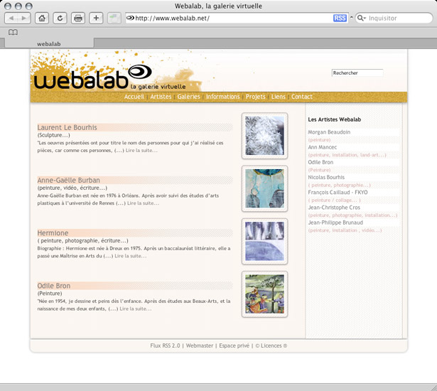 Webalab, home page - preview
